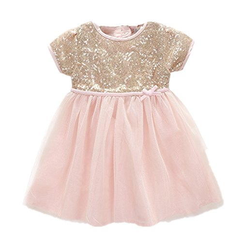 Baby Girls Dress Princess Pink Tulle with Gold Sequins