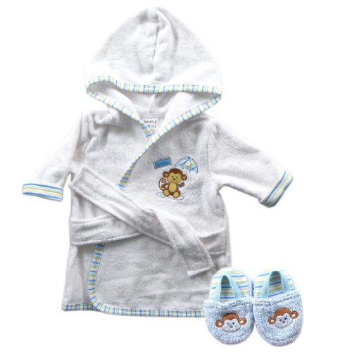 Bath Robe with Slippers - Woven Terry in Blue