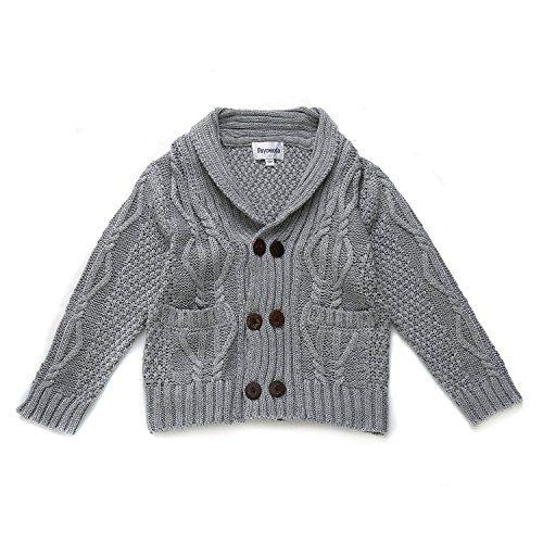 DOYOMODA Baby Boys Cable Knit Cardigan Shawl Collar Sweater