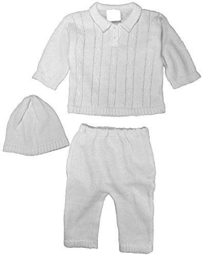 Cotton Knit White Baby Boys 3 Piece Collared Set