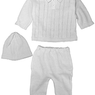 Cotton Knit White Baby Boys 3 Piece Collared Set