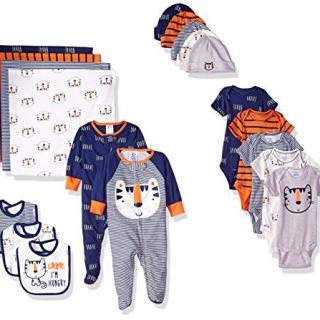 Gerber Baby Boys' 19-Piece Essentials Gift Set, Happy Tiger Newborn