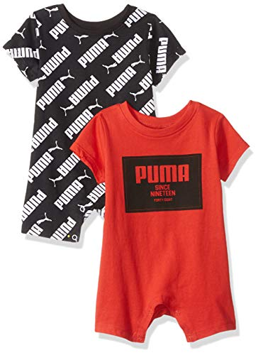 PUMA Baby Boys' 2 Pack Romper Set, High Risk Red 12 Months