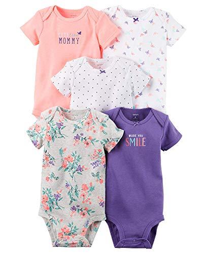 Carter's Baby Girls' Multi-pk Bodysuits, Purple Floral 12 Months