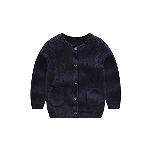 Baby Sweater Boys Girls Cardigan Spring Autumn (2T, Navy)