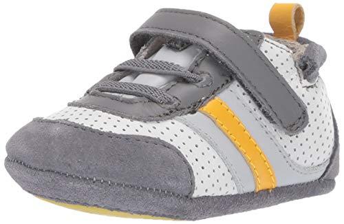 Robeez Boys' Low Top Sneaker-Mini Shoez Crib Shoe Grey/Yellow