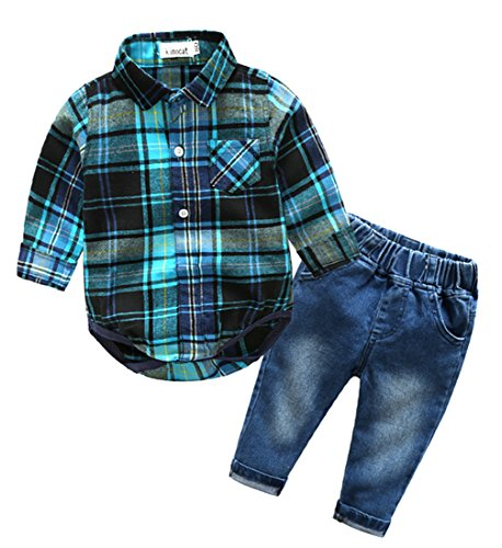 Beide Baby Boys Outfits Long Sleeve Plaid Bodysuit