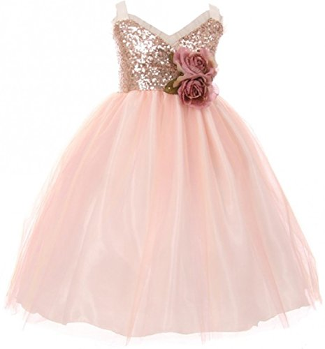 Big Girls' Dress Sequins Ruffle Trim Layered Tulle