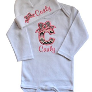 Baby Girl Embroidered Initial Onesie Bodysuit & Matching Beanie HAT