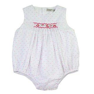 Phlona Baby Girls' Smocked Bubble Bodysuit Pink