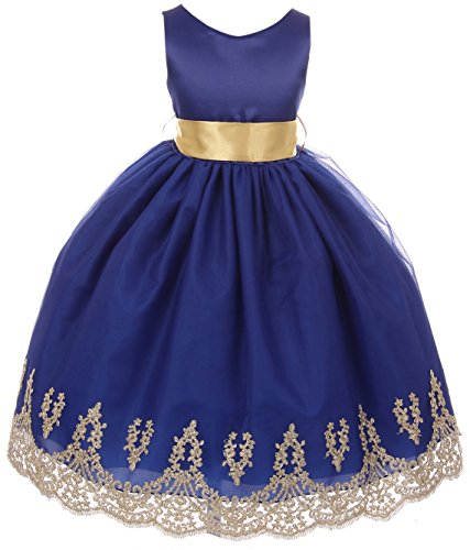 Little Girls Sleeveless Lace Embroider Party Holiday Dressy Flower Girl Dress Royal