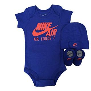 NIKE Infant Babys 3-Piece Bodysuit, Hat & Booties Set