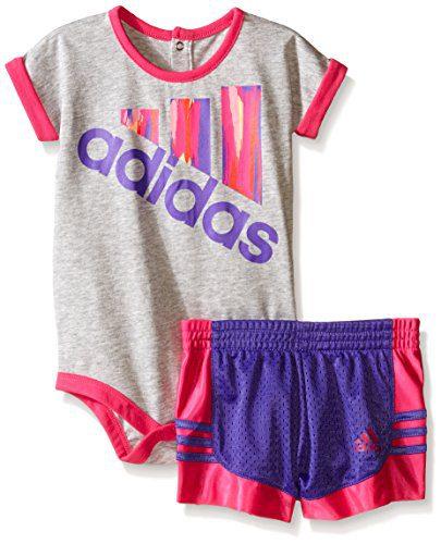 Adidas Baby Girls' Bodysuit and Short Set, Grey Heather, 24 Months