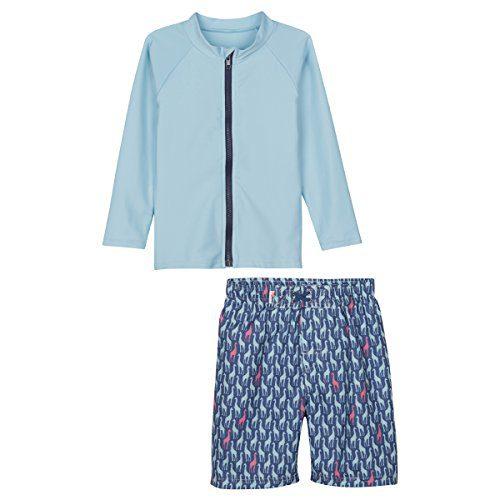SwimZip¨ Baby Boy Zipper Long Sleeve Rash Guard Swimsuit Set