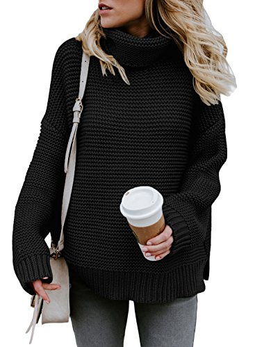 Asvivid Womens Long Sleeve Turtleneck Knitted Pullover
