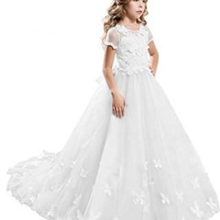 PLwedding Elegant Long Lace Applique Flower Girl Dress