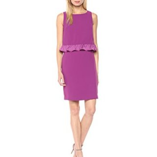 Trina Turk Women's Tieges Ruffle Popover Crepe Dress