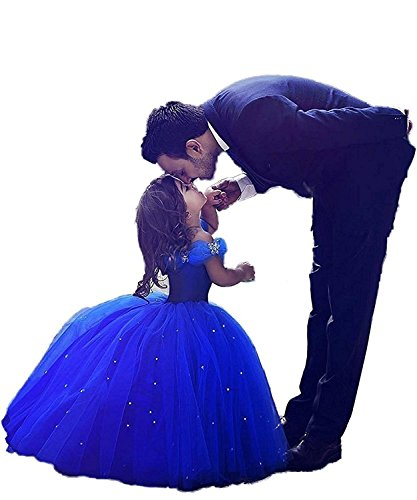 Girls Blue Prom Puffy Tulle Princess Ball Gowns Kids