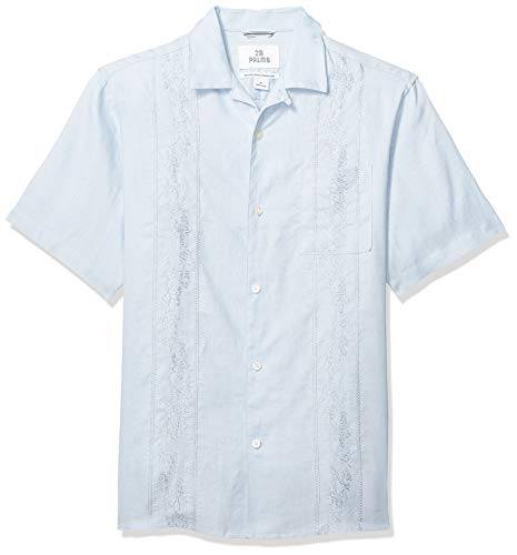 Palms Men's Relaxed-Fit Short-Sleeve 100% Linen Embroidered