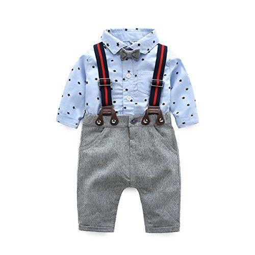Newborn Baby Boys Long Sleeve Onesie + Bib Overalls