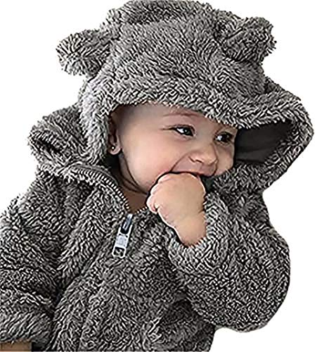 LOTUCY Baby Boy Girl Cartoon Bear Fleece Snowsuit