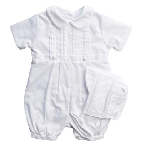 Baby Boys Rompers Pique Christening Baptism Knickers and Hat
