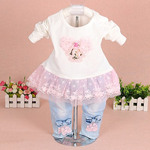 53f7b4105 YAO Baby Girls Denim Clothing Sets 3 Pieces Clout Wear Fashion for ...