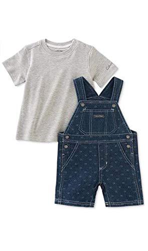 Calvin Klein Baby Boys' 2-Pc. T-Shirt & Denim Shortall Set