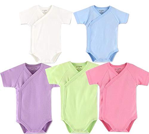 Baby Boys Girls Short Sleeves Kimono Onsies Cotton Baby Side