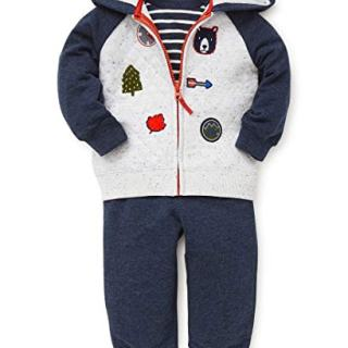 Little Me Baby Boy's Jogger Set Sweater, Patches Mashmallow
