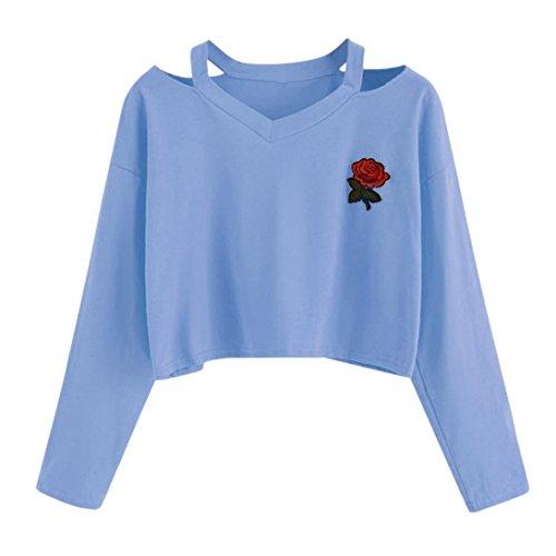 Palarn Womens Fashion Tops, Long Sleeve Rose Print