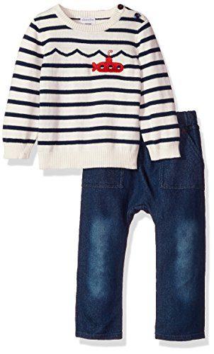 absorba Baby Boys' Sweater Pant Set, Blue WASH Denim/Silent