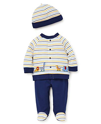 Little Me Baby Boys Cardigan Set, Safari Stripe Medieval Blue/Multi