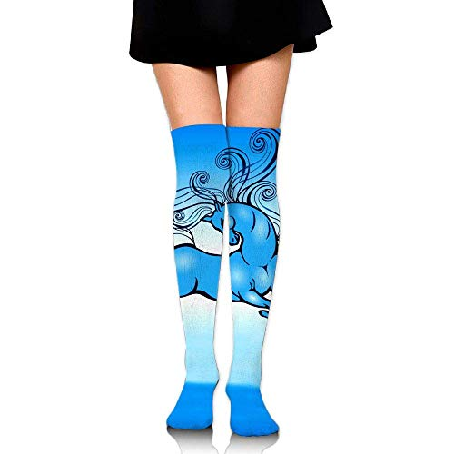 Kyliel Over the Knee Thigh High Socks,Blue Horse Print High Boot