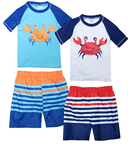 Sweet & Soft Baby Boys 4-Piece Rash Guard and Trunk Swimsuit Set