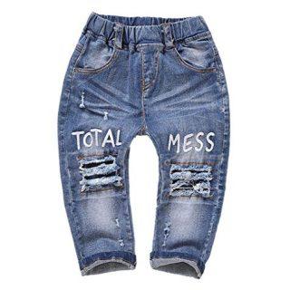 Kidscool Baby & Little Girls Elastic Waist Ripped Holes Denim Pants Jeans
