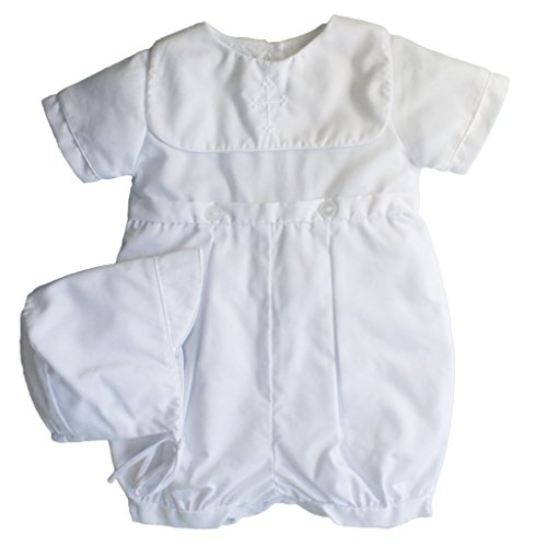 Petit Ami Baby Boys' Hand-Embroidered Cross Christening Romper