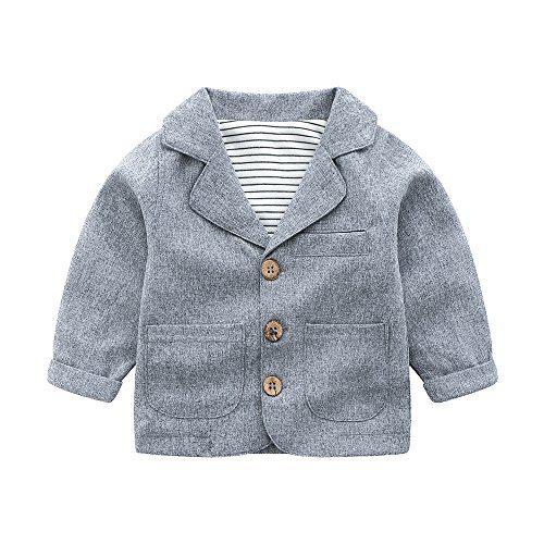 Toddler Baby Boy Blazers Coat,Infant Casual Gray Suit Jacket