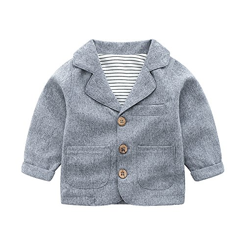 Toddler Baby Boy Blazers Coat,Infant Casual Gray Suit Jacket