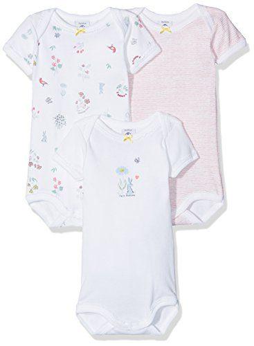 Petit Bateau Set of 3 Baby Girls Short Sleeve Bodysuits Style