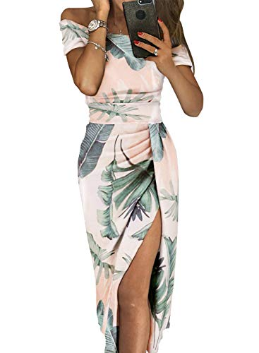 Asvivid Womens Formal Floral Printed Sexy Off The Shoulder
