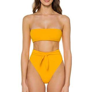 Mara Hoffman Women's Yellow Sprint Bandeau Bikini Top Sprint S