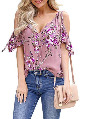 Asvivid Womens Summer Cold Shoulder Ruffle Short Sleeve