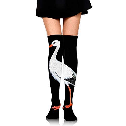 Kyliel Over the Knee Thigh High Socks,White Stork Print