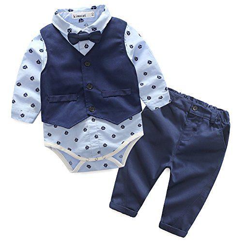 Xiangwu Textitle Baby Boy Bodysuit Gentleman Bowtie Long Sleeve