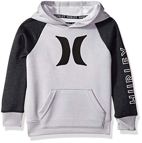 Hurley Boys' Toddler Pullover Hoodie, Grey Heather Solar 4T