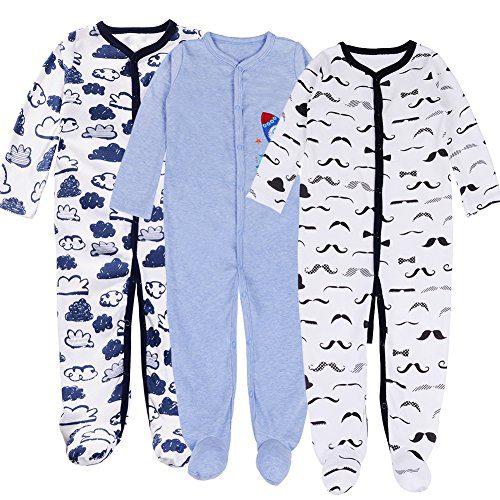 Baby Footed Pajamas Boy - 3 Packs Newborn Infant Sleeper