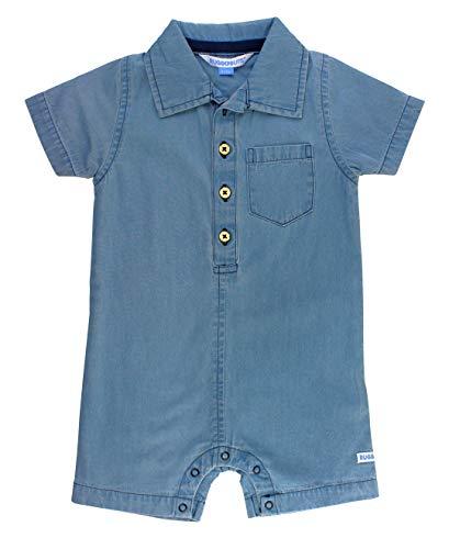 RuggedButts Baby/Toddler Boys Light Wash Denim Romper - 0-3m