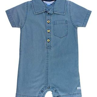 RuggedButts Baby/Toddler Boys Light Wash Denim Romper - 0-3m