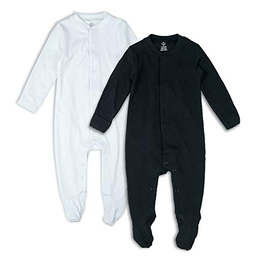 OPAWO 2 Packs Baby Footed Pajamas with Mittens Cuffs
